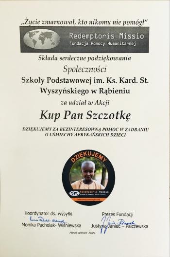 Dyplom dla szkoły z podziękowaniami za udział w akcji  ,,KUP PAN SZCZOTKĘ