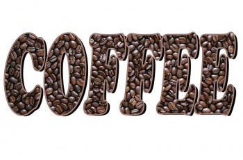 wyraz coffee wykonany z ziaren kawy