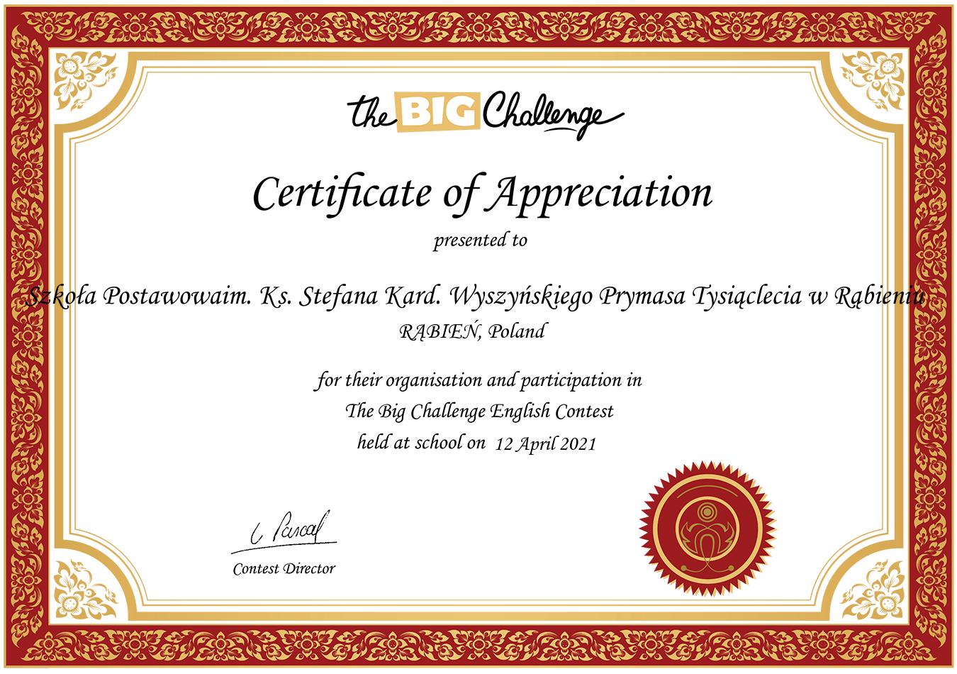 certyfikat potwierdzający udział w konkursie