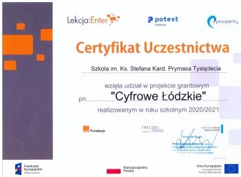 certyfikat uczestnictwa w projekcie CYFROWE ŁÓDZKIE