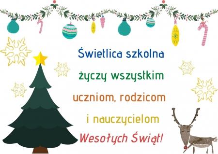 Świąteczne życzenia od wychowawców świetlicy